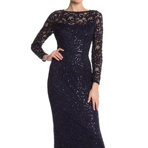 Marina Sequin Lace Long Sleeve Gown